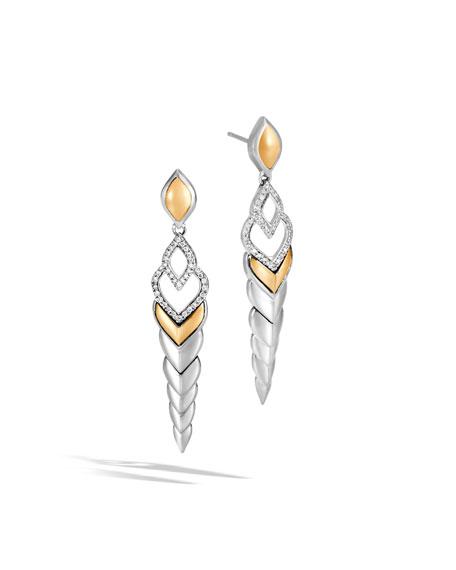 John Hardy 18K Yellow Gold & Sterling Silver Legends Naga Pave Diamond Long Drop Earrings