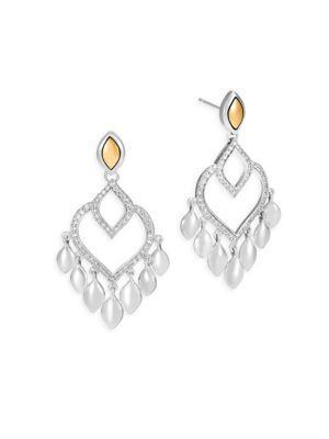 John Hardy Legends Naga Diamond Pave, 18K Gold & Silver Chandelier Earrings