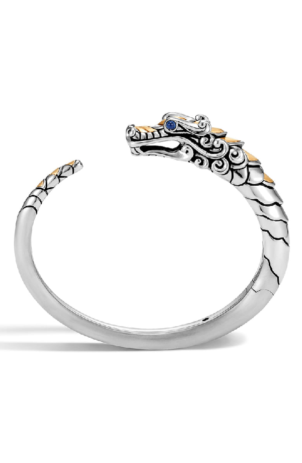 e8d098aed John Hardy Brushed 18K Yellow Gold And Sterling Silver Legends Naga Small  Kick Cuff With Sapphire