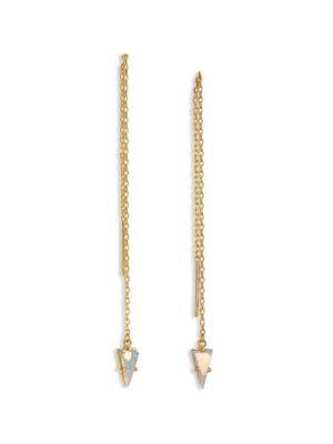 Jules Smith Triangle Gem Threader Chain Earrings In Gold-Opal