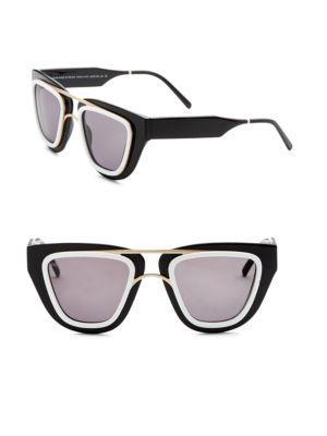 Smoke X Mirrors Soda Pop, 48Mm, Angular Sunglasses In Black-White