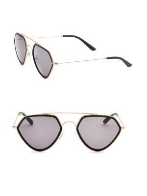 Smoke X Mirrors Geo, 51Mm, Geometric Sunglasses In Black