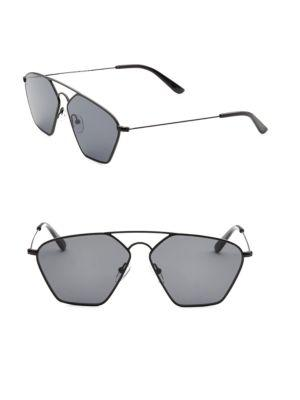 Smoke X Mirrors Geo, 56Mm, Geometric Sunglasses In Matte Black