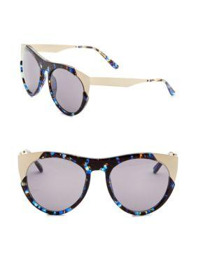 Smoke X Mirrors Zoubisou, 49Mm, Round Sunglasses In Blue