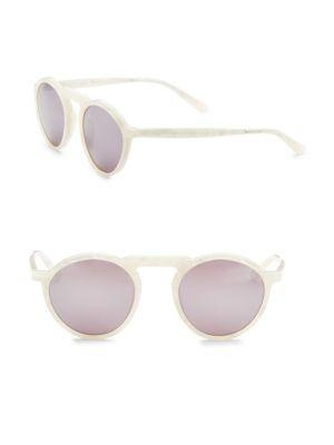 Smoke X Mirrors Letter, 49Mm, Round Sunglasses In White