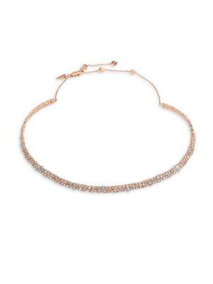Alexis Bittar Spiked Crystal Choker In Rose Gold