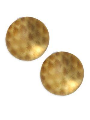 Alexis Bittar Lucite Medium Dome Clip-On Earrings In Gold