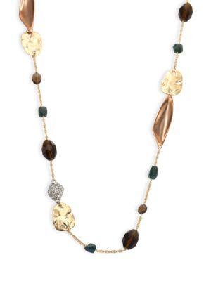 "Alexis Bittar Elements Beaded Smoky Quartz, Green Labradorite & Crystal Necklace/42"" In Multi"