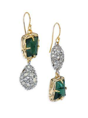 Alexis Bittar Elements Green Amethyst, Pyrite Doublet & Crystal Drop Earrings In Multi