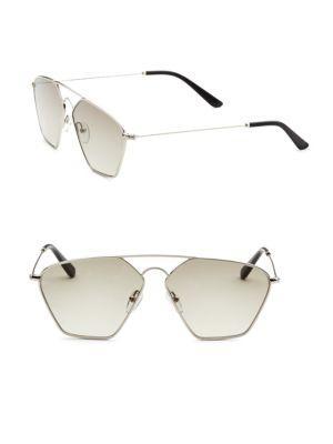 Smoke X Mirrors Geo, 56Mm, Geometric Sunglasses In Silver