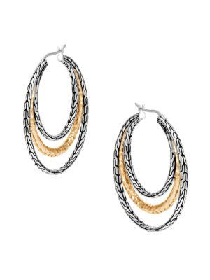 John Hardy Classic Chain Hammered 18K Gold & Silver Medium Hoop Earrings In Silver-Gold