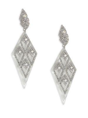 Alexis Bittar Crystal & Lucite Drop Earrings In Silver