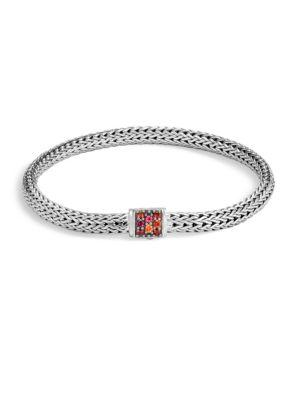 John Hardy Classic Chain Red Sapphire & Sterling Silver Bracelet In Silver-Multi