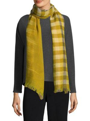 Eileen Fisher Hand-Loomed Fading Ikat Check Wool Scarf In Mustard Seed