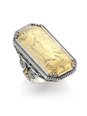 Konstantino Gaia 18K Yellow Gold Rectangular Ring In Silver-Gold