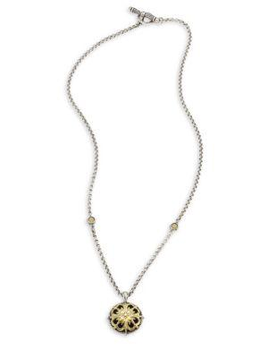 Konstantino Gaia Etched Floral Pendant Necklace In Silver-Gold
