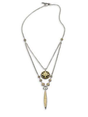 Konstantino Gaia Double-Drop Pendant Necklace In Silver-Gold