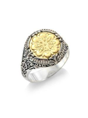 Konstantino Flower-Embossed 18K & Sterling Silver Signet Ring In Silver-Gold
