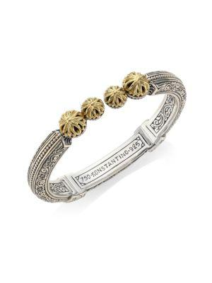 Konstantino Gaia Etched Hinged Bangle In Silver-Gold