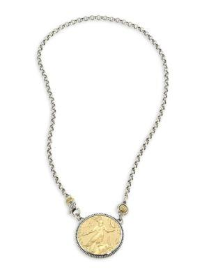Konstantino 18K Gold & Sterling Silver Coin Pendant Necklace In Silver-Gold
