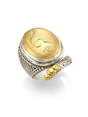 Konstantino Gaia Snake-Detail Oval Ring In Silver/ Gold