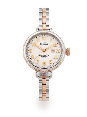 Shinola Birdy Rose Goldtone Pvd & Stainless Steel Bracelet Watch In Silver-Gold