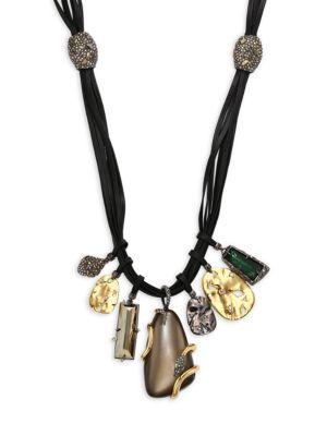 Alexis Bittar Lucite Green Amethyst, Pyrite & Leather Charm Necklace In Warm Grey
