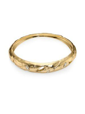 Alexis Bittar Elements Rocky Tapered Crystal Bangle In Yellow Gold