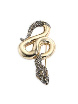 Alexis Bittar Elements Crystal Snake Pin In Yellow Gold-Gunmetal