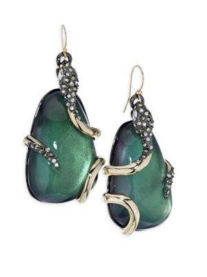 Alexis Bittar Snake-Wrapped Lucite Drop Earrings In Jade