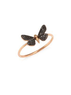 Astley Clarke Cinnabar Moth Black Diamond Ring In Metallic