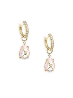 Jude Frances Tiny Crisscross Wrapped Diamond & Morganite Earring Charms In Yellow Gold