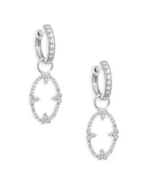 Jude Frances Champagne Open Oval Diamond Bezel Earring Charms In White Gold