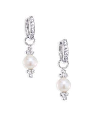 Jude Frances Small Diamond & 7Mm White Pearl Earring Charms In White Gold