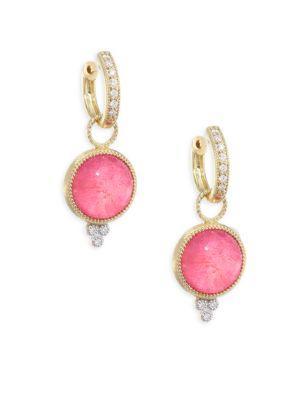 Jude Frances Provence Diamond, Mother-Of-Pearl & Dark Rhodolite Earring Charms In Rhodalite