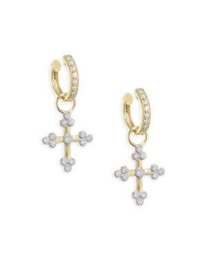 Jude Frances Tiny Diamond Cross Earring Charms In Yellow Gold