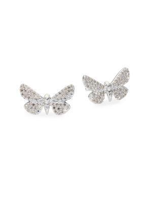 Astley Clarke Cinnabar Moth Grey Diamond Stud Earrings In White Gold
