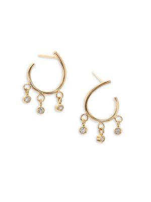 ZoË Chicco Diamond & 14K Yellow Gold Front-To-Back Hoop Earrings
