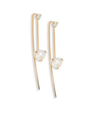 ZoË Chicco Diamond, 4Mm White Pearl Threader Earrings In Yellow Gold