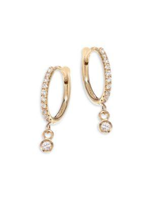 ZoË Chicco Diamond & 14K Yellow Gold Huggie Hoop Earrings