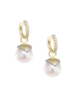 Jude Frances Provence Diamond & 10Mm White Pearl Earring Charms In Yellow Gold