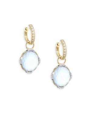 Jude Frances Triple Diamond & Labradorite Earring Charms In Yellow Gold