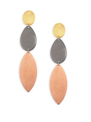 Stephanie Kantis Enchantment Tri-Tone Triple-Drop Earrings In Yellow/Pink
