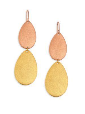 Stephanie Kantis Dew Drop Two-Tone Double-Drop Earrings In Rose-Gold