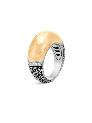John Hardy Classic Chain Hammered 18K Gold, Silver & Diamond PavÉ Dome Ring In Yellow Gold-Silver