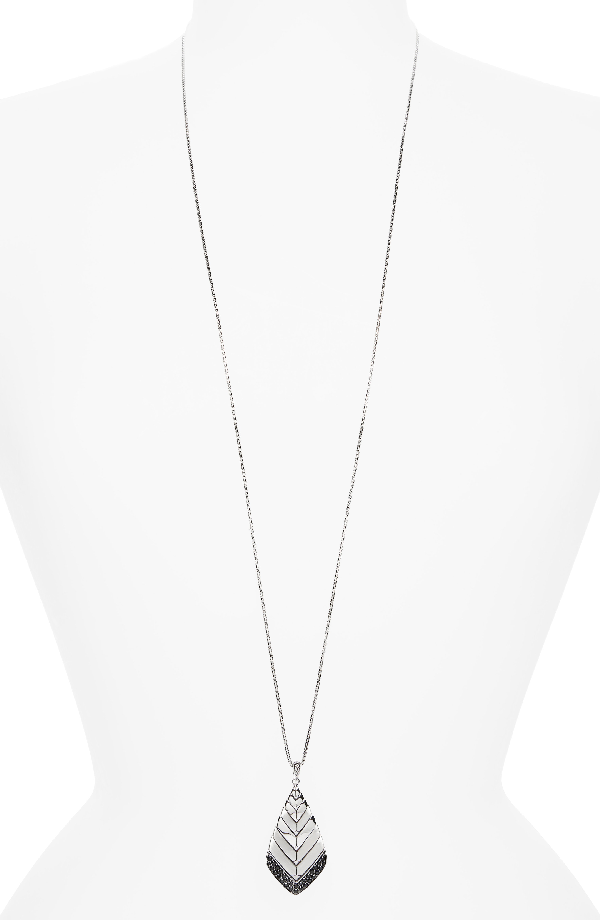 John Hardy Sterling Silver Modern Chain Brushed Pendant Necklace With Black Sapphire, 36 In Silver/ Black Sapphire