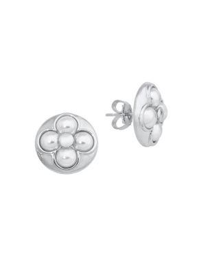 Majorica Luck 6Mm White Mabe Pearl & Sterling Silver Stud Earrings