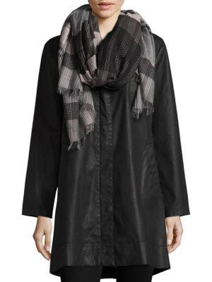 Eileen Fisher Hand-Loomed Organic Cotton Diamond Striped Scarf In Bark