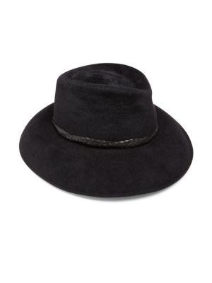 Eric Javits Anette Rabbit Fur Felt & Leather Fedora In Black