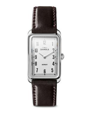 Shinola The Muldowney Rectangular Leather Strap Watch, 24Mm X 32Mm In Brown/ White/ Silver
